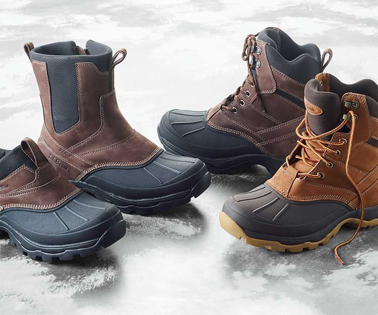 Four insulated L.L.Bean Boots on the ice.