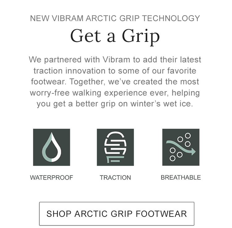 NEW VIBRAM ARCTIC GRIP TECHNOLOGY. Vibram's latest traction innovation, helping you get a better grip on winter's wet ice.