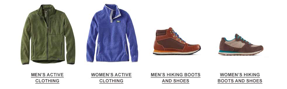 Selection of active clothes and hiking footwear.