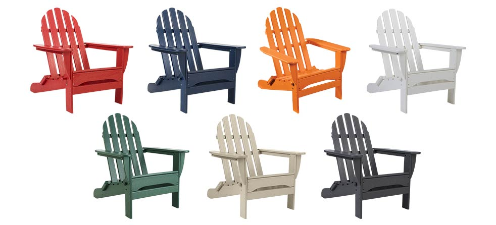 Different colored Adirondack Chairs.