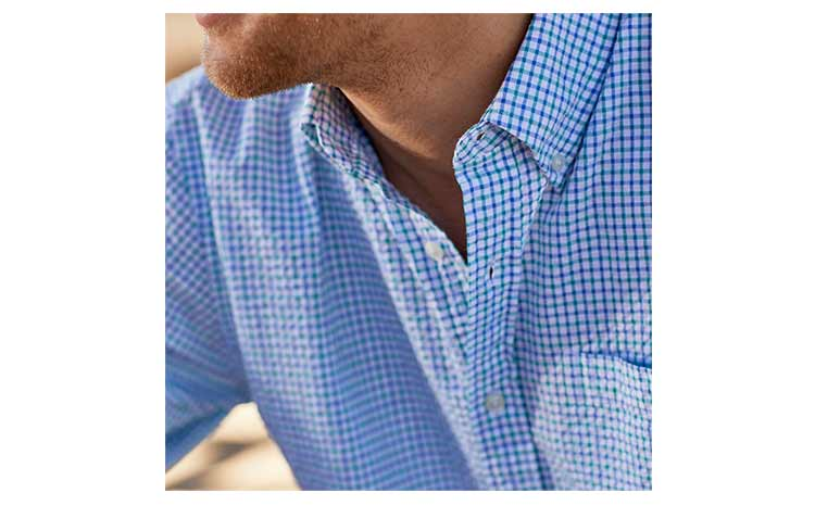 close up of seersucker shirt