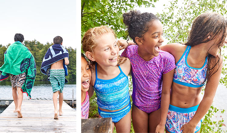 Kids wearing L.L.Bean swimwear and towels.