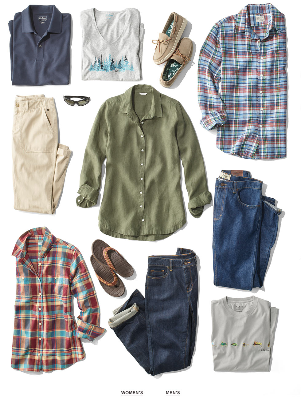 An assortment of men's and women's L.L. Bean summer clothing and accessories.