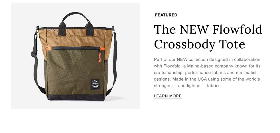 NEW Flowfold Crossbody Tote. Part of our NEW collection designed in collaboration with Flowfold, a company known for its craftsmanship and performance fabrics. Made in the USA.