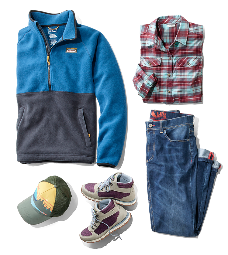 An assortment of L.L.Bean Autumn Adventure clothing and accessories