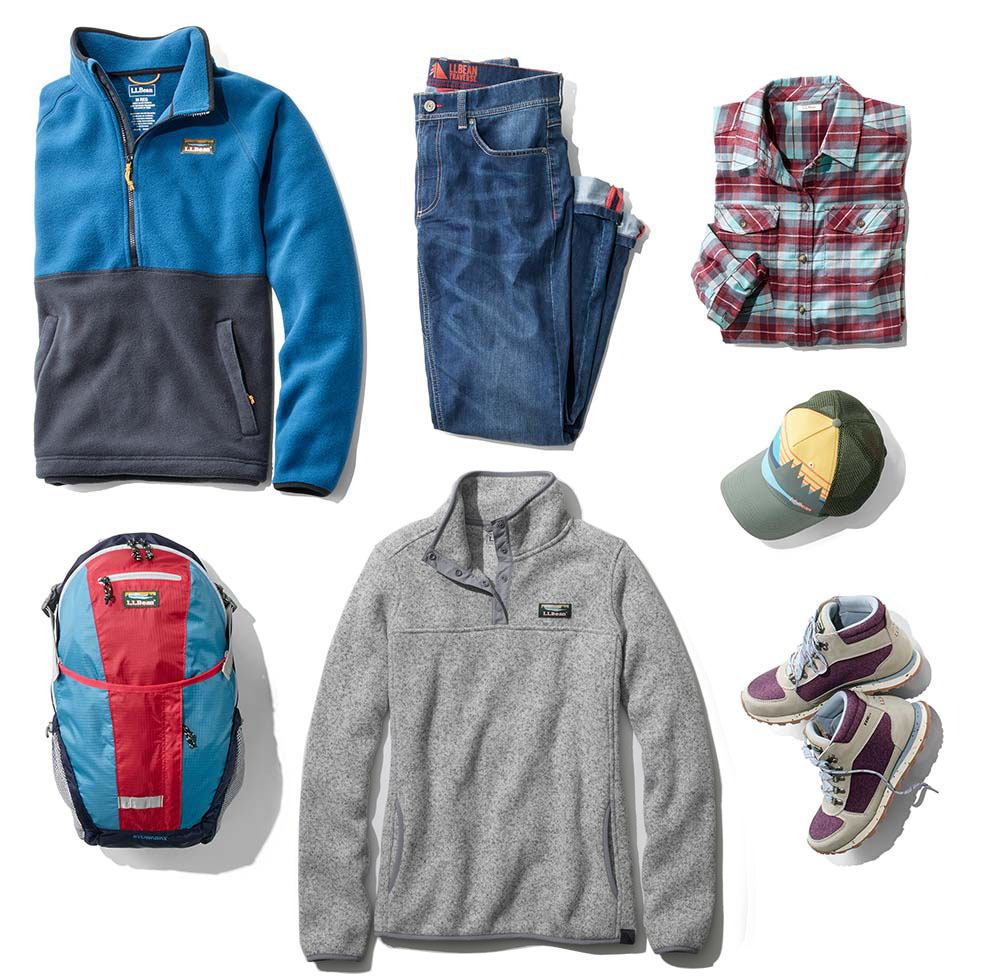 An assortment of L.L.Bean fall clothing and accessories.