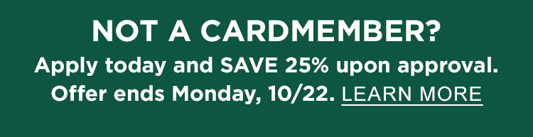 Special Offer for L.L.Bean Mastercard Members 25% Off Your Order when you use your L.L.Bean Mastercard and promo code CARD25. Not a cardmember? Apply today and save 25% upon approval. Ends Monday, 10/22