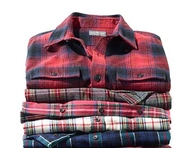 A stack of L.L.Bean flannel shirts.