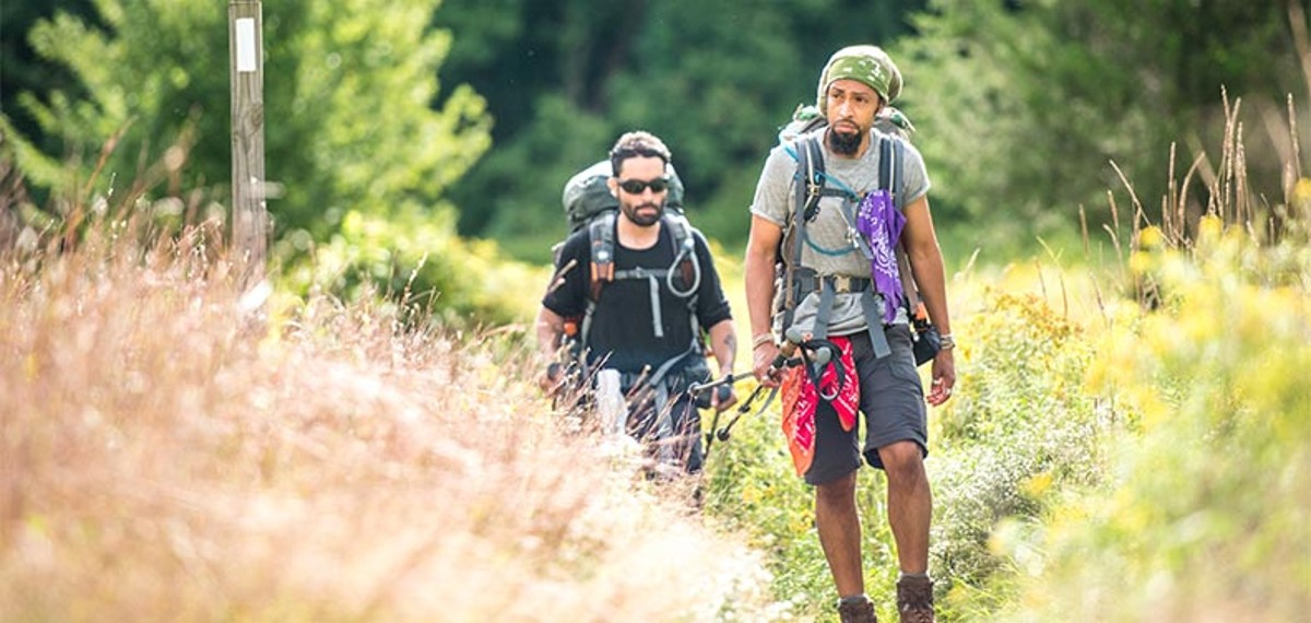 Two men walking the Appalachian Trail