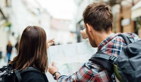 Two people looking at a map
