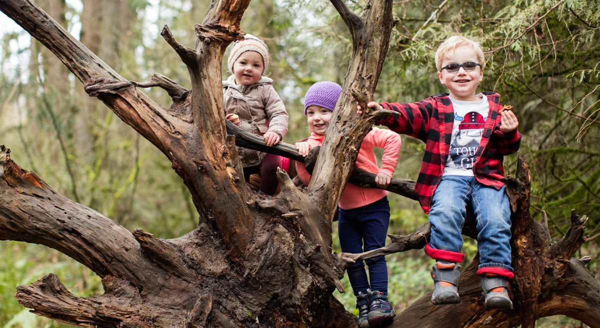 Kids climbing in a tree during Hike it Baby planned hike