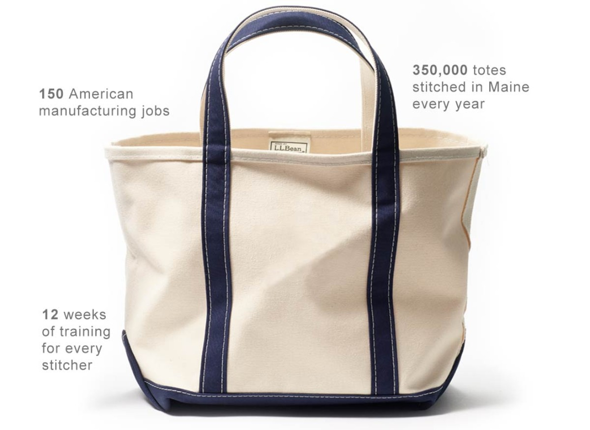350,000 totes stitched in Maine every year. 150 American manufacturing jobs. 12 weeks of training for every stitcher.