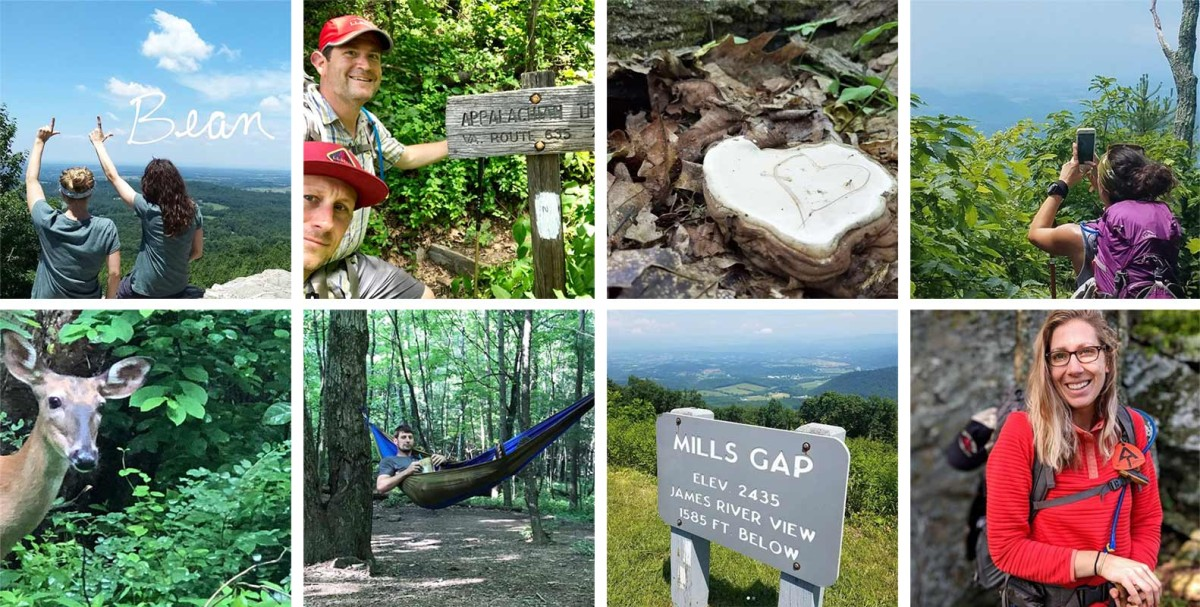 Images of people walking the Appalachian Trail