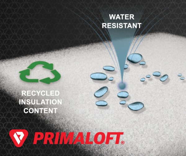 Recycled Insulation Content. Water Resistant. Primaloft.