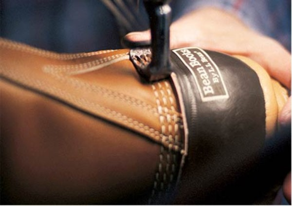 L.L.Bean Boot getting stitched.
