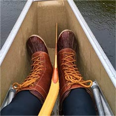 L.L.Bean Boots in a canoe