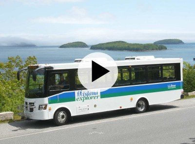 Island Explorer bus, Acadia National Park, Maine.