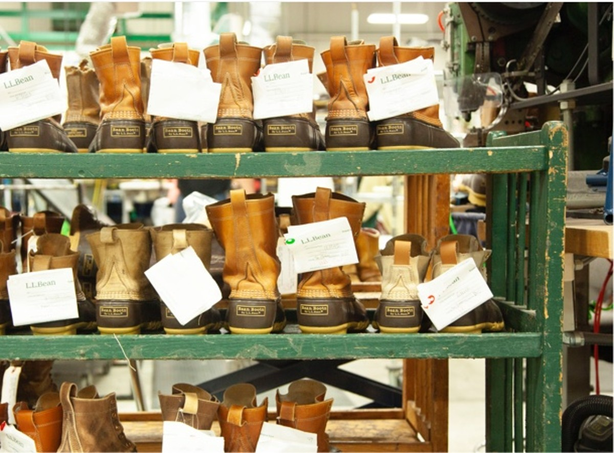 Shelves of Bean Boots waiting to be repaired.
