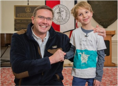 L.L.Bean President and CEO Steve Smith with young environmental activist Benjamin.
