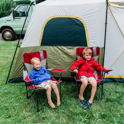 Bowman children camping.