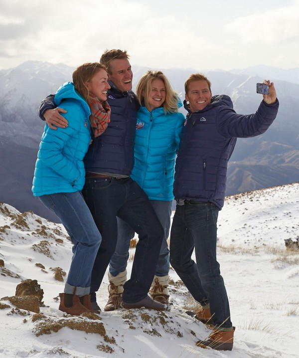 Jessie Diggins and 3 friends taking a group selfie.