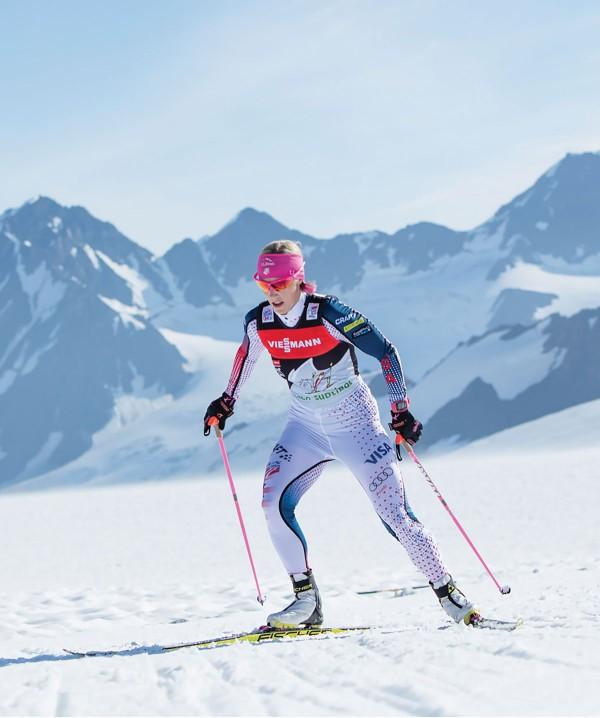 Kikkan Randall skiing