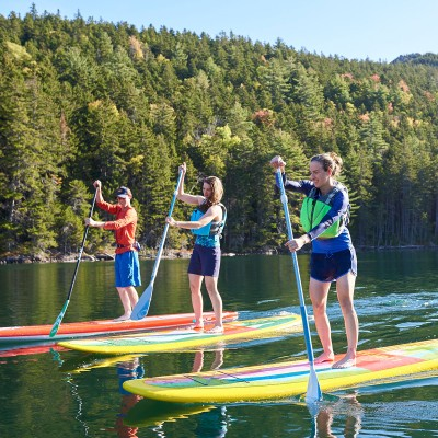 Lea Davison and friends paddle boarding