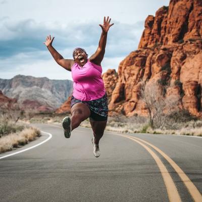 Mirna Valerio jumping.