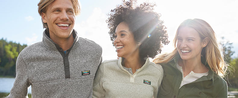 Friends enjoying a day outside wearing L.L.Bean sweater fleeces.