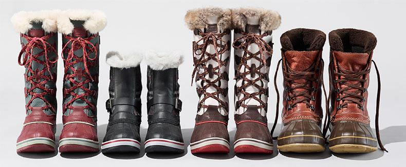 An assortment of L.L.Bean winter boots.