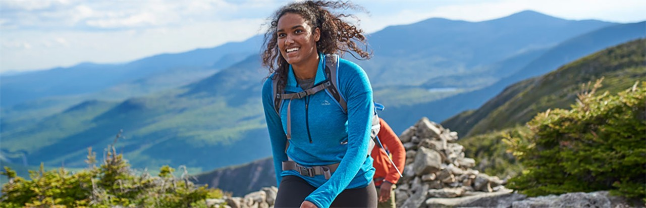 Woman hiking in the mountains.