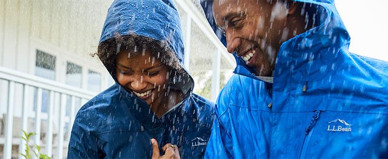 Couple walking in the rain.