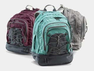 Close-up of three backpacks