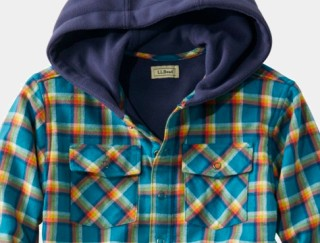 Close-up of kids' hooded flannel shirt