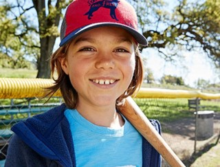 Close-up of boy outside in L.L.Bean apparel