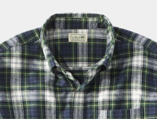 Close-up of button-down flannel shirt