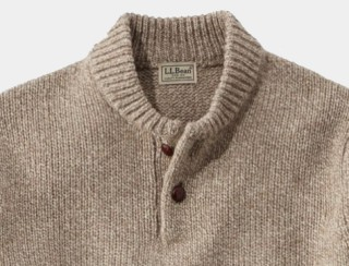 Close-up of henley sweater
