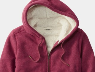 Close-up of women's fleece-lined hooded sweatshirt