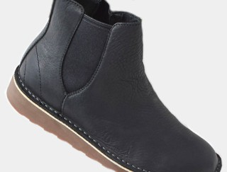 Close-up of a casual leather boot