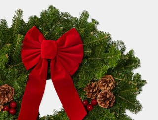 Close-up of holiday wreath