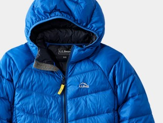 Close-up of kids' hooded down Jacket