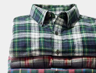 Stack of three flannel shirts