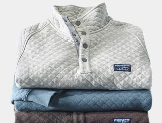 Close-up of L. L. Bean men's fleece pullover