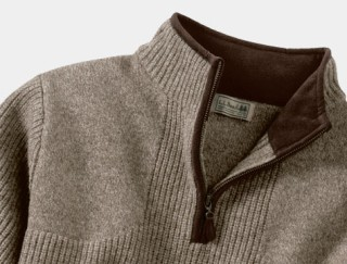 Close-up of hunting quarter-zip sweater