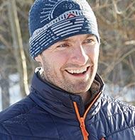 A man enjoying a winter day outside.