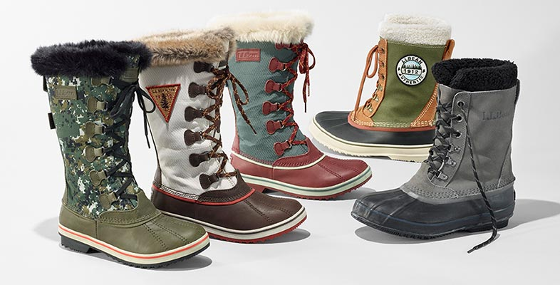 An assortment of L.L.Bean winter boots