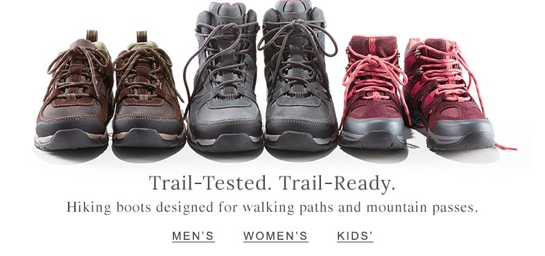 Trail Tested. Trail Ready. Hiking boots designed for walking paths and mountain passes.
