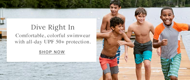 Dive Right In Comfortable, colorful swimwear with all-day UPF 50+ protection. Shop Now