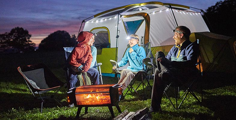 Upgrade Your Family Camping Trip Our exceptionally roomy Acadia 8-Person Cabin Tent is designed to be your home away from home, with gear lofts, a room divider and even a self-closing door that keeps out bugs.