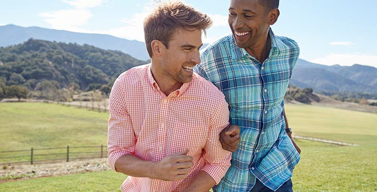 Two men wearing comfortable L.L.Bean clothing and enjoying the outdoors